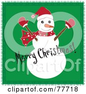 Black Merry Christmas Greeting Over A Snowman On Green