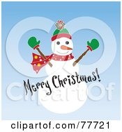 Merry Christmas Greeting Over A Snowman On Blue