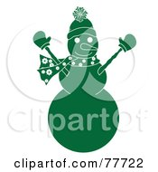 Green Snowman Holding His Arms Up