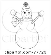 Black And White Outline Of A Snowman Holding His Arms Up