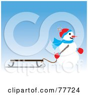 Royalty Free RF Clipart Illustration Of A Snowman Pulling A Sled Over Blue