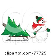 Snowman Pulling A Christmas Tree On A Sled Through The Snow