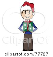 Caucasian Stick Boy Wearing A Santa Hat And Holding A Christmas Gift