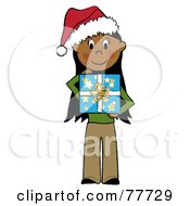 Hispanic Stick Girl Wearing A Santa Hat And Holding A Christmas Gift