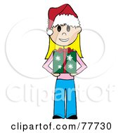 Royalty Free RF Clipart Illustration Of A Caucasian Stick Girl Wearing A Santa Hat And Holding A Christmas Gift by Pams Clipart