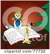 Royalty Free RF Clipart Illustration Of A Blond Doll Resting On An Open Christmas Book By A Candle And Christmas Tree by Pams Clipart