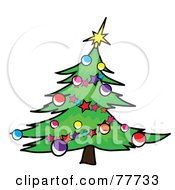 Royalty Free RF Clipart Illustration Of A Green Christmas Tree Curving To The Right Decorated In Garlands And Baubles by Pams Clipart