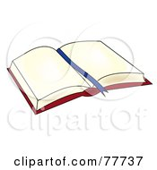 Royalty Free RF Clipart Illustration Of A Blue Ribbon In The Center Of An Open Book by Pams Clipart