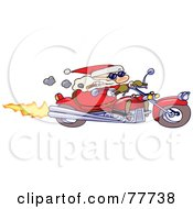Royalty Free RF Clipart Illustration Of A Tough Toon Santa Smoking A Cigar And Riding A Motorcycle by gnurf