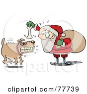 Nervous Toon Santa Trying To Calm A Mad Dog With A Bone