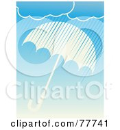 Royalty Free RF Clipart Illustration Of Rain Clouds Showering Down Over A White Umbrella On Blue