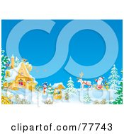 Royalty Free RF Clipart Illustration Of Santas Reindeer Pulling His Sleigh Up To A Winter Cottage by Alex Bannykh