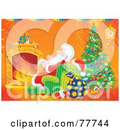 Royalty Free RF Clipart Illustration Of Santa Keeping Cozy And Warm By A Fire And Christmas Tree by Alex Bannykh