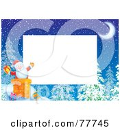 Royalty Free RF Clipart Illustration Of A Horizontal Christmas Border Of Santa In A Chimney Around White Space
