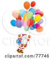 Royalty Free RF Clipart Illustration Of An Airbrushed Kris Kringle Floating With Balloons