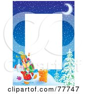 Royalty Free RF Clipart Illustration Of A Vertical Christmas Border Of Santa Carrying Presents To A Chimney Around White Space