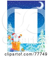 Royalty Free RF Clipart Illustration Of A Vertical Christmas Border Of Santa In A Chimney Around White Space
