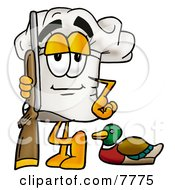 Clipart Picture Of A Chefs Hat Mascot Cartoon Character Duck Hunting Standing With A Rifle And Duck
