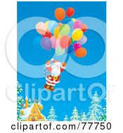 Royalty Free RF Clipart Illustration Of Santa Floating Away From A Cottage With A Cluster Of Balloons