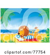 Royalty Free RF Clipart Illustration Of A Relaxed Lion Reading A Book On A Tropical Beach