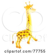 Royalty Free RF Clipart Illustration Of A Cute Bright Yellow Giraffe Walking by Alex Bannykh