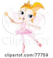 Royalty Free RF Clipart Illustration Of A Pretty Blond Ballerina Fairy Girl Using A Magic Wand by Pushkin