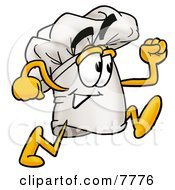 Clipart Picture Of A Chefs Hat Mascot Cartoon Character Running