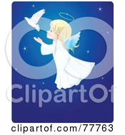 Adorable Christmas Angel Girl Flying Behind A Dove In A Blue Starry Sky