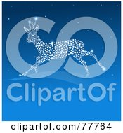 Royalty Free RF Clipart Illustration Of A Leaping Sparkly Reindeer Of Lights In A Blue Sky With Text Space On Blue