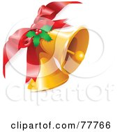 Royalty Free RF Clipart Illustration Of A Red Bow Attached To Two Golden Bells With Christmas Holly