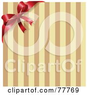 Royalty Free RF Clipart Illustration Of A Red Ribbon And Bow On The Corner Of A Brown And Tan Stripe Background
