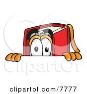 Clipart Picture Of A Red Book Mascot Cartoon Character Peeking Over A Surface