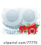 Royalty Free RF Clipart Illustration Of A Gray Winter Christmas Background With Snowflakes White Grunge And Red Poinsettias by Pushkin