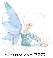 Pretty White Haired Winter Fairy Sitting In Snow