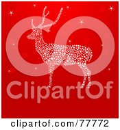 Royalty Free RF Clipart Illustration Of A Red Christmas Background With A Sparkly Reindeer by Pushkin