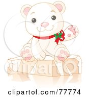 Adorable Christmas Polar Bear Wearing Holly And Waving While Sitting On Ice