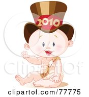 Royalty Free RF Clipart Illustration Of A Cute New Years Baby Wearing A 2010 Hat And Waving by Pushkin