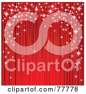 Royalty Free RF Clipart Illustration Of A Red Stage Drapery Curtain With Magical Sparkles
