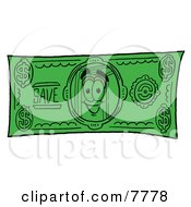 Clipart Picture Of A Red Book Mascot Cartoon Character On A Dollar Bill by Toons4Biz