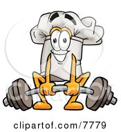 Clipart Picture Of A Chefs Hat Mascot Cartoon Character Lifting A Heavy Barbell by Toons4Biz