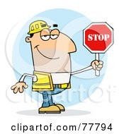 Friendly Caucasian Traffic Director Man Holding A Stop Sign