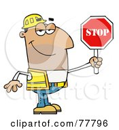 Friendly Male Hispanic Traffic Director Holding A Stop Sign