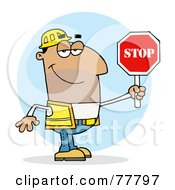 Royalty Free RF Clipart Illustration Of A Friendly Hispanic Traffic Director Man Holding A Stop Sign