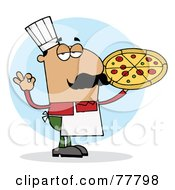 Pleased Hispanic Pizza Chef Man With His Perfect Pie