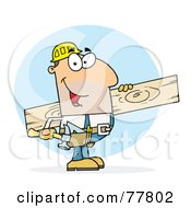 Royalty Free RF Clipart Illustration Of A Caucasian Worker Man A Wood Plank by Hit Toon
