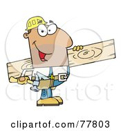 Poster, Art Print Of Friendly Hispanic Construction Worker Carrying A Wood Board