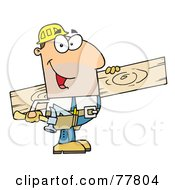 Poster, Art Print Of Friendly Caucasian Construction Worker Carrying A Wood Board