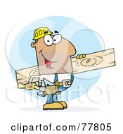 Hispanic Worker Man A Wood Plank