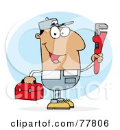 Royalty Free RF Clipart Illustration Of A Hispanic Plumber Man Carrying A Red Wrench And Tool Box by Hit Toon