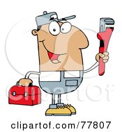 Royalty Free RF Clipart Illustration Of A Friendly Hispanic Plumber Man Carrying A Wrench And Tool Box by Hit Toon